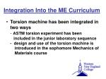 integration into the me curriculum