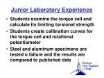 junior laboratory experience