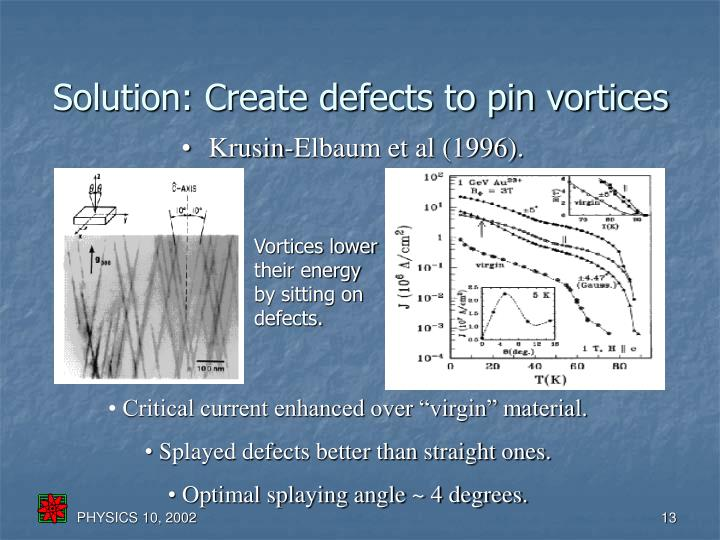 Solution: Create defects to pin vortices
