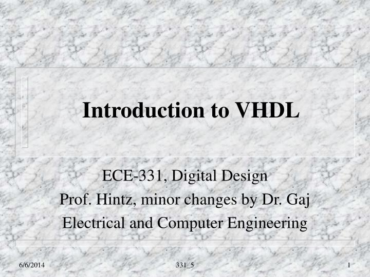 introduction to vhdl n.
