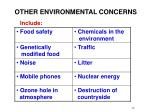 other environmental concerns