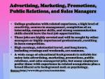 advertising marketing promotions public relations and sales managers