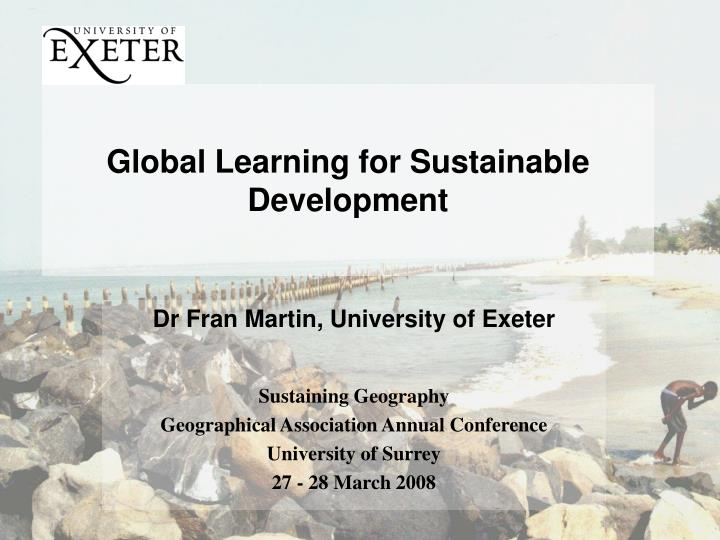 global learning for sustainable development n.