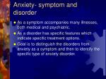 anxiety symptom and disorder