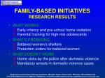 family based initiatives research results