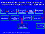 continuum for the emission of and exposure to a contaminant and the expression of a health effect