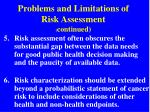 problems and limitations of risk assessment continued1