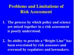 problems and limitations of risk assessment