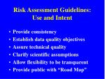 risk assessment guidelines use and intent
