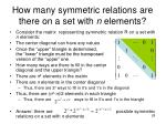 how many symmetric relations are there on a set with n elements