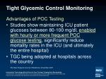 tight glycemic control monitoring