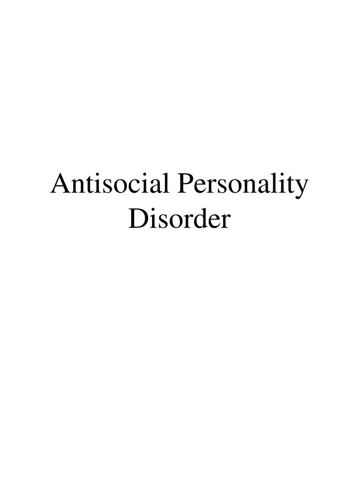 antisocial personality disorder n.