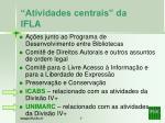 atividades centrais da ifla