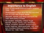 importance to english