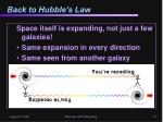 back to hubble s law