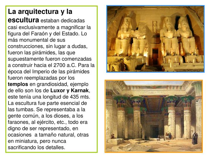 La arquitectura y la escultura