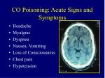 co poisoning acute signs and symptoms