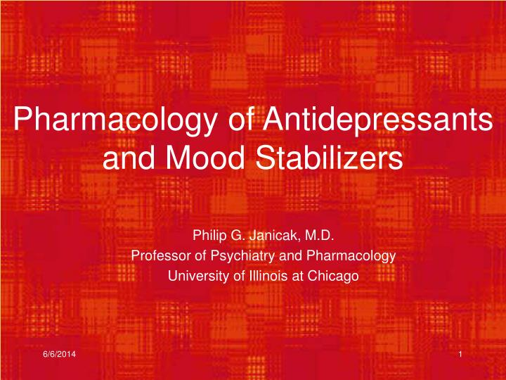 pharmacology of antidepressants and mood stabilizers n.