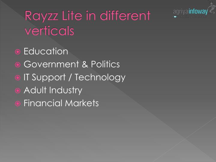Rayzz lite in different verticals