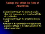 factors that affect the rate of absorption
