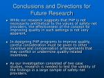 conclusions and directions for future research