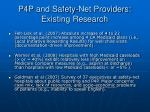 p4p and safety net providers existing research