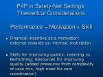p4p in safety net settings theoretical considerations performance motivation skill