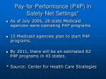 pay for performance p4p in safety net settings