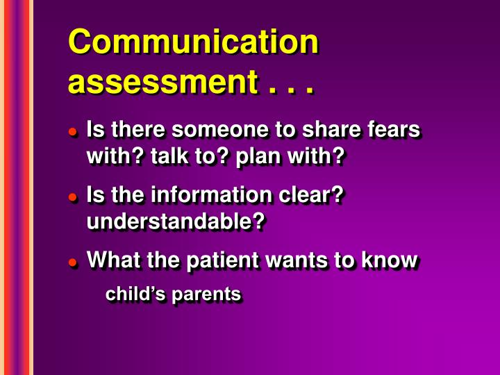 Communication assessment . . .