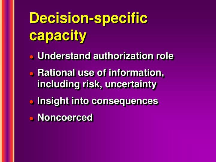 Decision-specific capacity