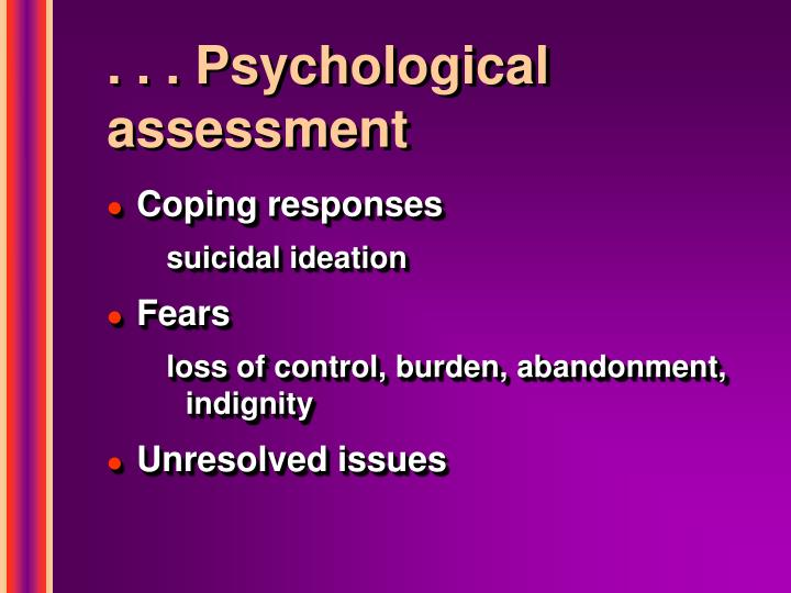 . . . Psychological assessment