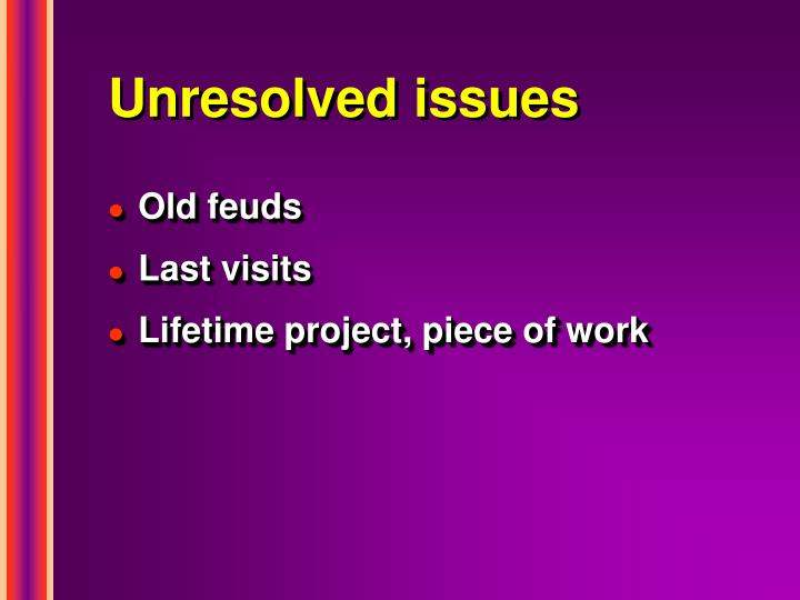Unresolved issues