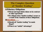 the complex question of insider trading1