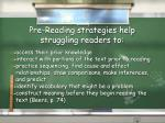 pre reading strategies help struggling readers to