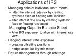 applications of irs