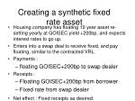 creating a synthetic fixed rate asset