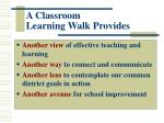 a classroom learning walk provides