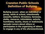 cranston public schools definition of bullying