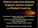 district wide anti bullying program and its impact on student learning