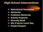high school interventions