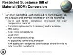 restricted substance bill of material bom conversion