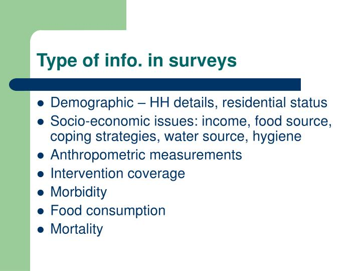 Type of info. in surveys