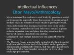intellectual influences elton mayo anthropology