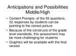 anticipations and possibilities middle high