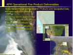 afm operational fire product deliverables