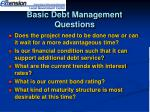 basic debt management questions