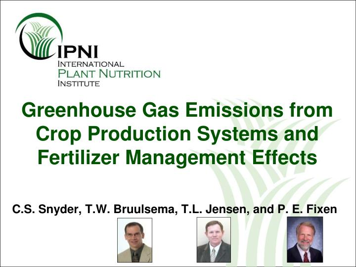 greenhouse gas emissions from crop production systems and fertilizer management effects n.