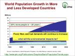 world population growth in more and less developed countries