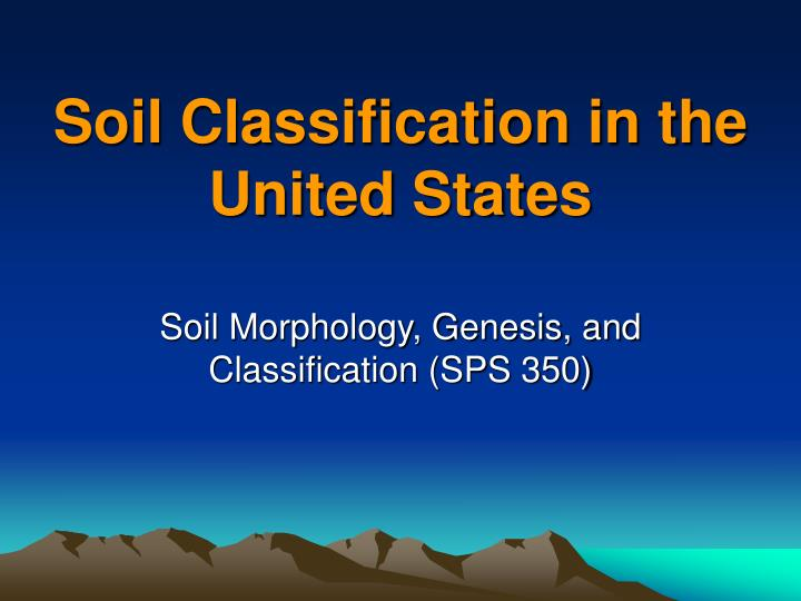 soil classification in the united states n.