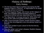 history of anthrax early history